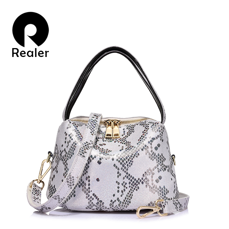 REALER brand new arrival women serpentine genuine leather handbag ladies shoulder bag fashion women small totes small hobos bag realer brand women shoulder bag with