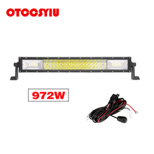 LED Work Light bar 22 Inch 3-Row 972W 97200LM Combo Beam Straight Curved Lamp Driving for Truck Trailer 4X4 4WD ATV SUV 12V