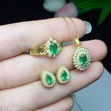 46a947b0c8e5 KJJEAXCMY joyas boutique 925 Plata de ley con incrustaciones de piedras  preciosas naturales Esmeralda señora colgante collar pen.