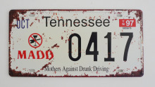 1 pc Tennessee tin sign plate US American car license plaques man cave garage