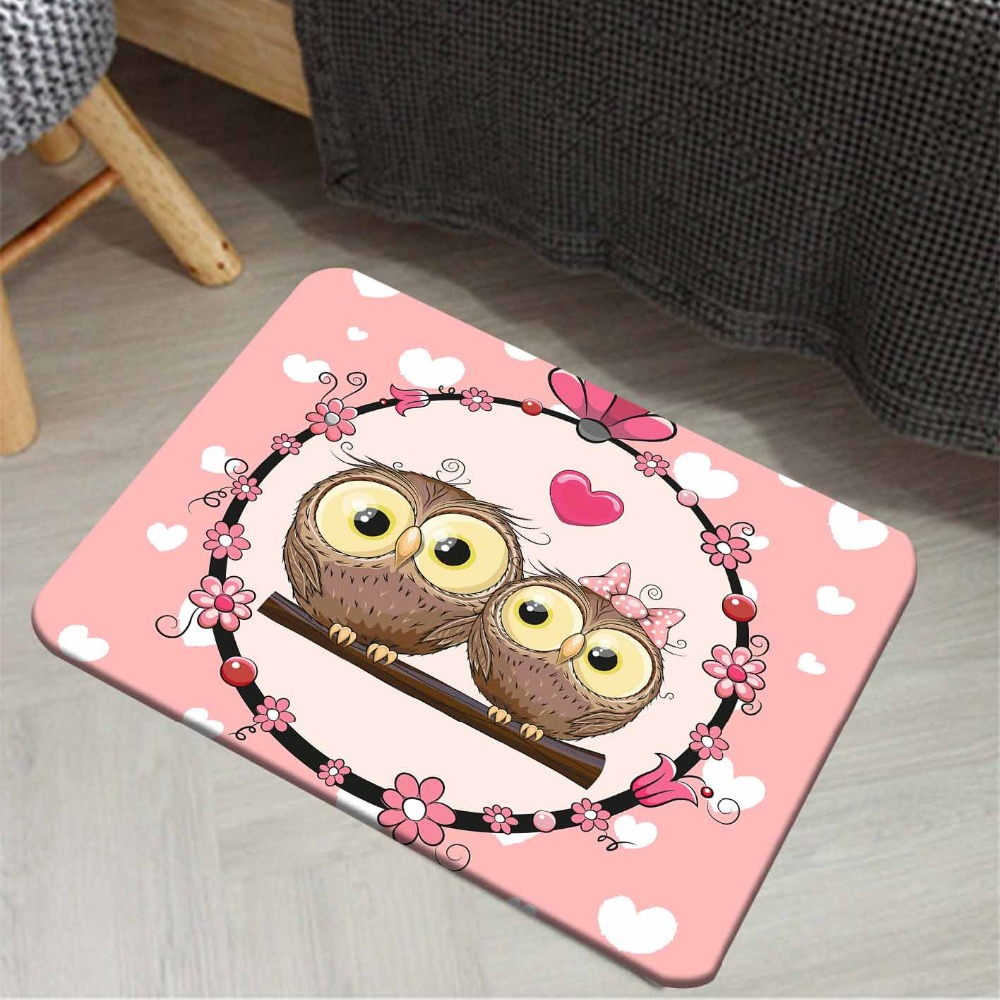 Else Pink Flowers Cute Love Hearts Owls Girl 3d Pattern Print Anti Slip Floor Doormat Home Decor Entryway Kids Children Room Mat