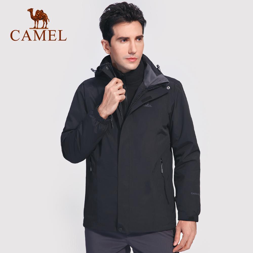 CAMEL Men Women 3 in 1 Outdoor Hiking Jacket Solid Color Thermal Fleece Inner Waterproof Windbreaker