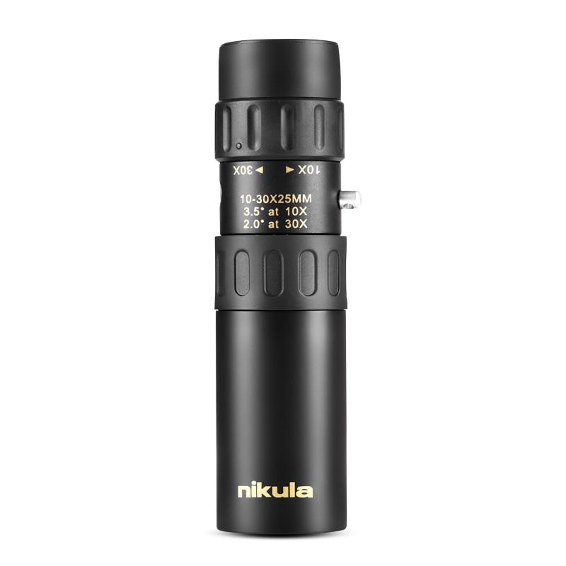 Original Binoculars Nikula 10-30x25Zoom Monocular High Quality Telescope Pocket Binoculo Hunting Optical Prism Scope No Tripod