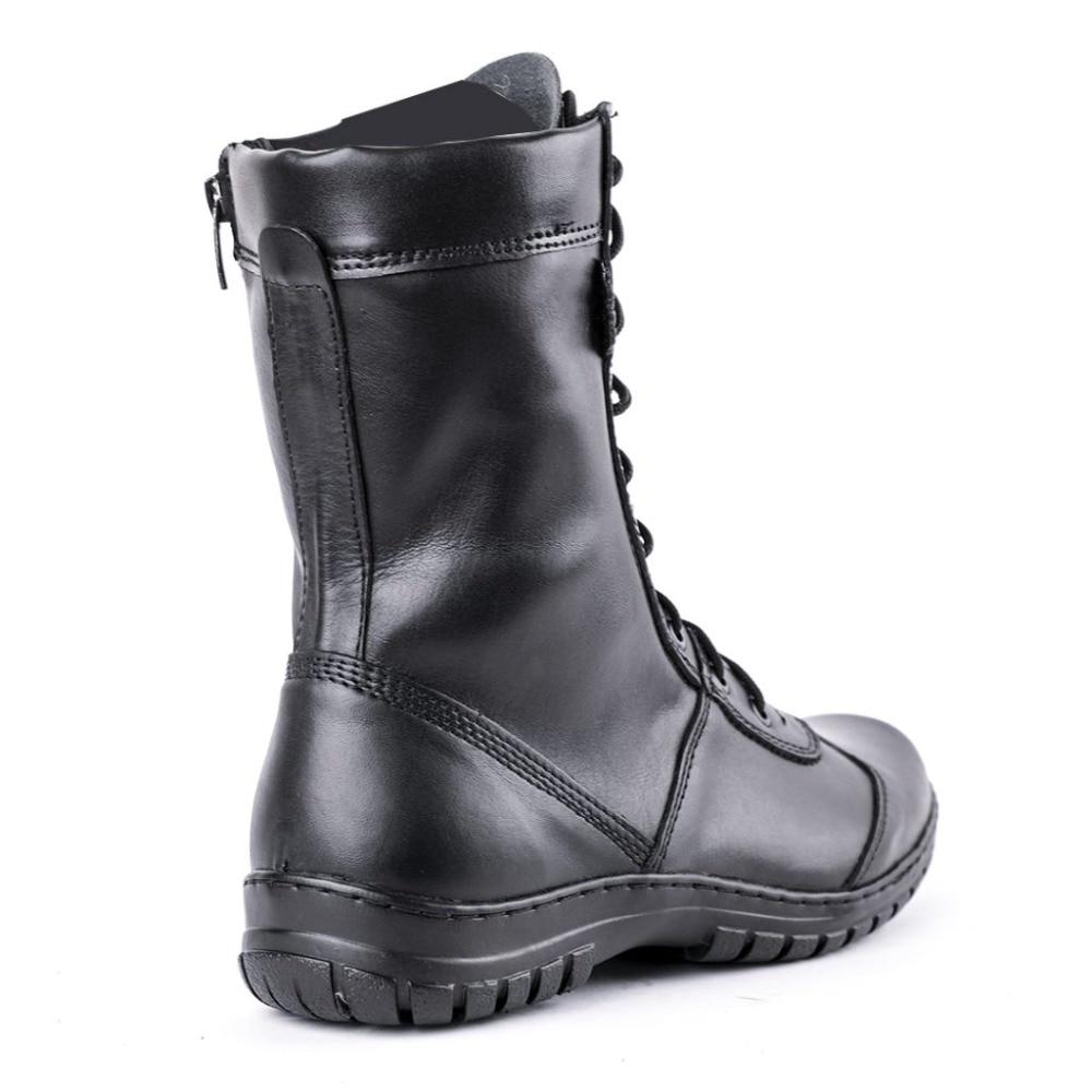 Bottines en cuir véritable à lacets noir armée hommes chaussures hautes bottes militaires plates 5023/11WA - 2