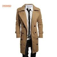 Men's Trench Coat Jacket 2018 Autumn Winter Smart Casual Men Long Wool Outwear Double-breasted Slim Fit Windbreaker Men Jackets