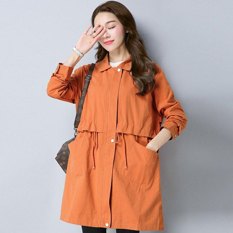 2018 Spring Autumn New Korean Large Size Women Fashion Trenc