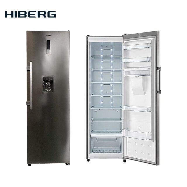 Холодильник однокамерный HIBERG RF-35D NFX, фасад нержавеющая сталь, объем 341 л, No Frost, ручка легкого открывания, диспенсер для воды, светодиодная подсветка камеры, многопоточная система охлаждения.