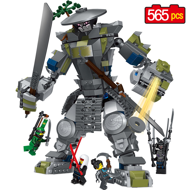 Unids 565 piezas de bloques calientes Oni Titan Warrior Mech Compatible legoINGLY Ninjagoed películas 70658 Mini figuras de acción modelo de arma juguetes para niños