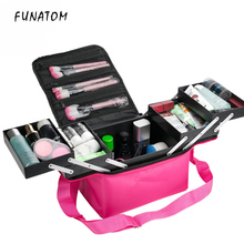 цена на Women Large Capacity Professional Makeup Organizer Fashion Toiletry Cosmetic Bag Multilayer Storage Box Portable Pretty Suitcase
