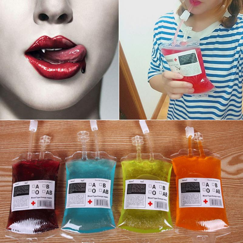 300ml Blood Juice Energy Drink Bag Halloween event Party supplies Pouch Props Vampires Reusable Package Bags