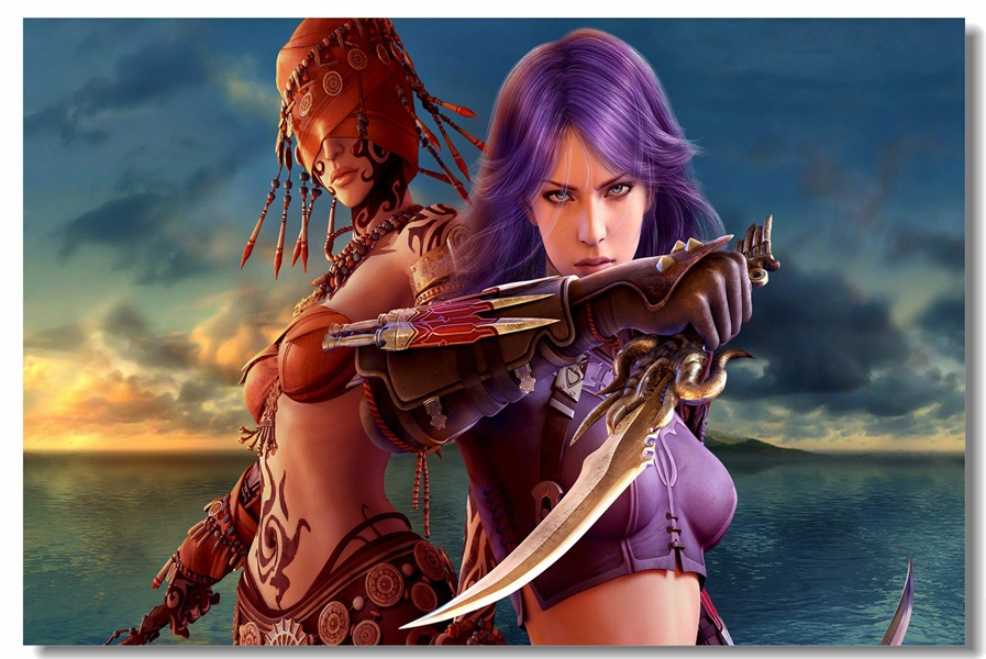Custom Canvas Wall Decals Guild Wars Poster Guild Wars Stickers Office Mural Sexy Game Girl Wallpaper Bar Cafe Decoration #0043#