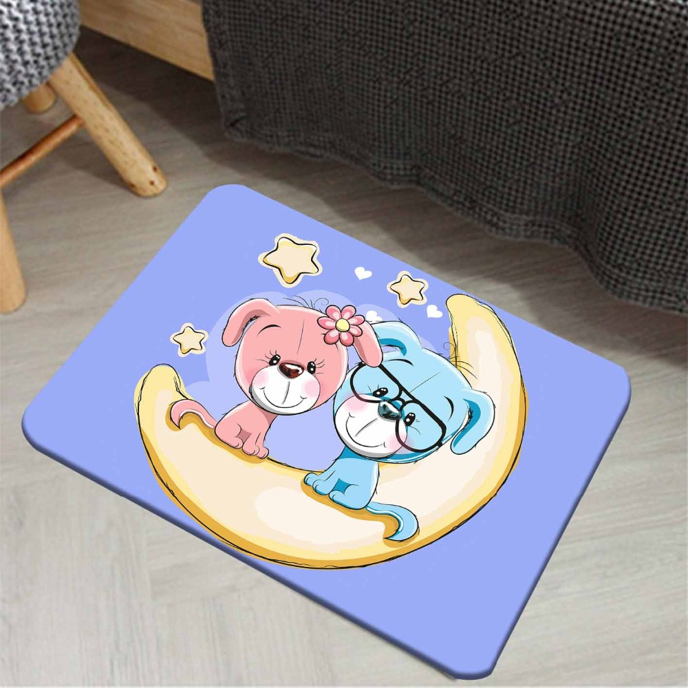 Else Blue Floor On Pink Blue Dogs On Moons Stars 3d Pattern Print Anti Slip Doormat Home Decor Entryway Kids Children Room Mat