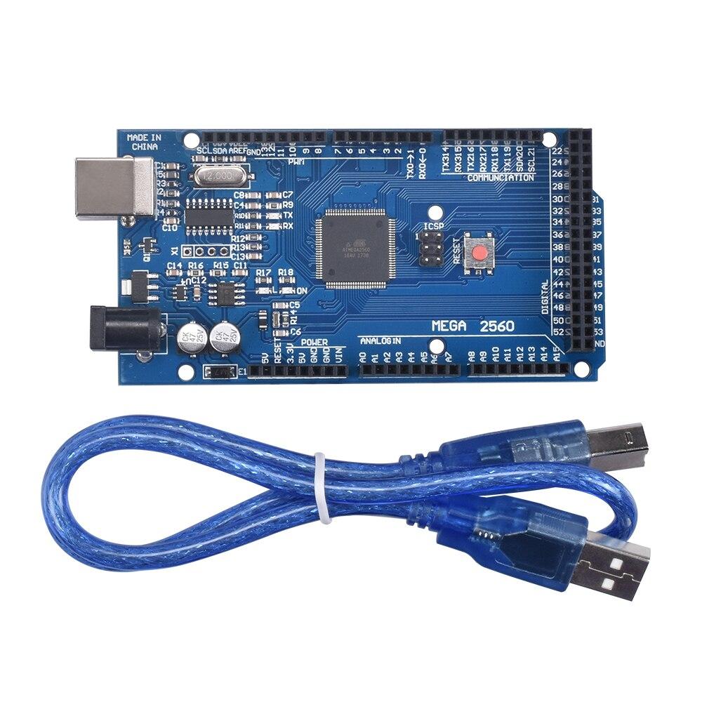 3D piezas de la impresora Sduino Mega2560 REV3 Mega 2560 R3 ATmega2560-16AU placa + Cable USB Compatible para 3d impresora