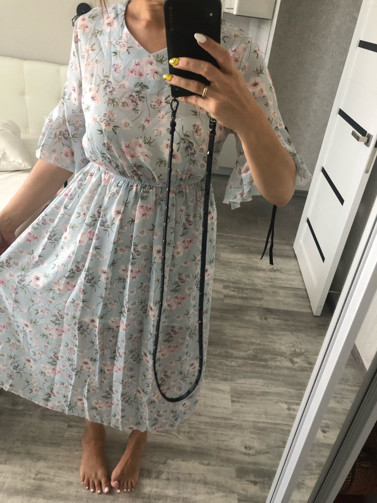 women's chiffon dress print V neck dress spring and summer ruffled short sleeved bow dress large size S 3XL photo review