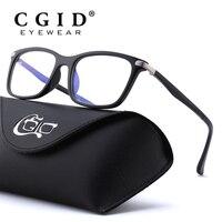 CGID TR90 Computer Glasses Anti Blue Rays Radiation Optical Print Glasses Square Eye PC Glasses Frames Men and Women CT46