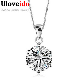 Uloveido Pendants Necklaces CZ Zircon Jewelry Silver Women Pendant Necklace Suspension Collar Pingentes Collares 49% Off N321