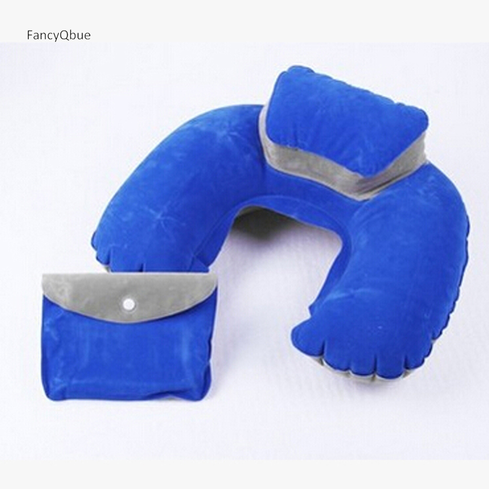 Color Random Air Pillow U-Shape Pillows Inflatable U Shape Neck Blow Up Cushion PVC Flocking Fabric Pillow Foldable