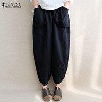 ZANZEA 2017 Mid Elastic Waist Pockets Linen Loose Solid Long Harem Pants Casual Autumn Red Blue