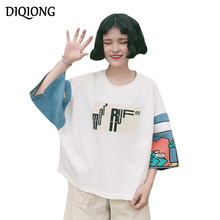 Diqiong large size Women Cotton T-shirts 2017 Summer New Loose Seven Sleeve O-neck Letter Printed Female Tops Casual Tees Bf