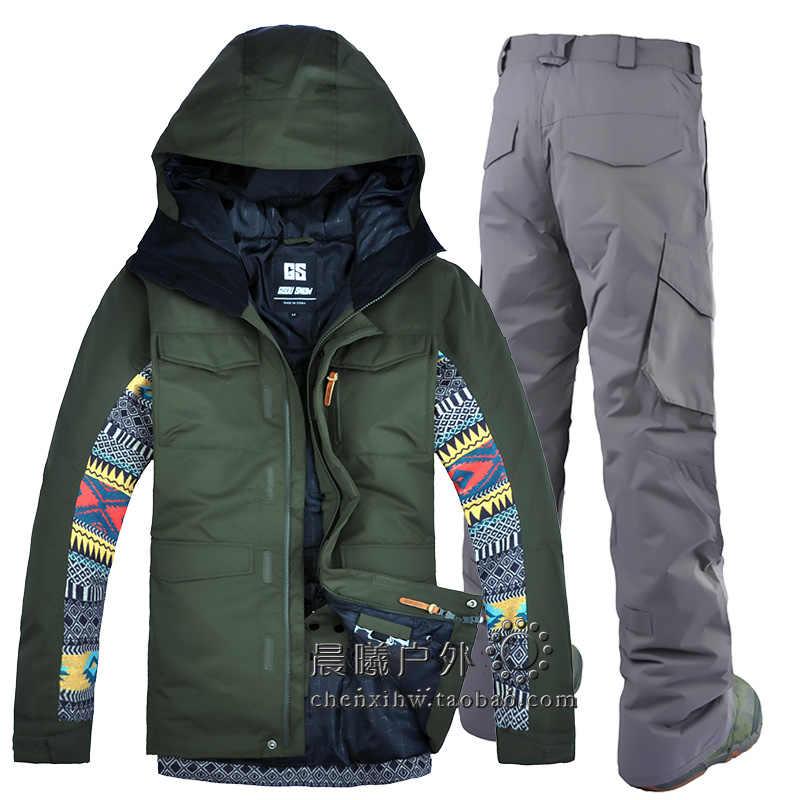 2018 GSOU снег для мужчин лыжная куртка брюки сноуборд Костюмы Брюки  утолщаются термальность уличная спортивная одежда 6bd25f7abbd