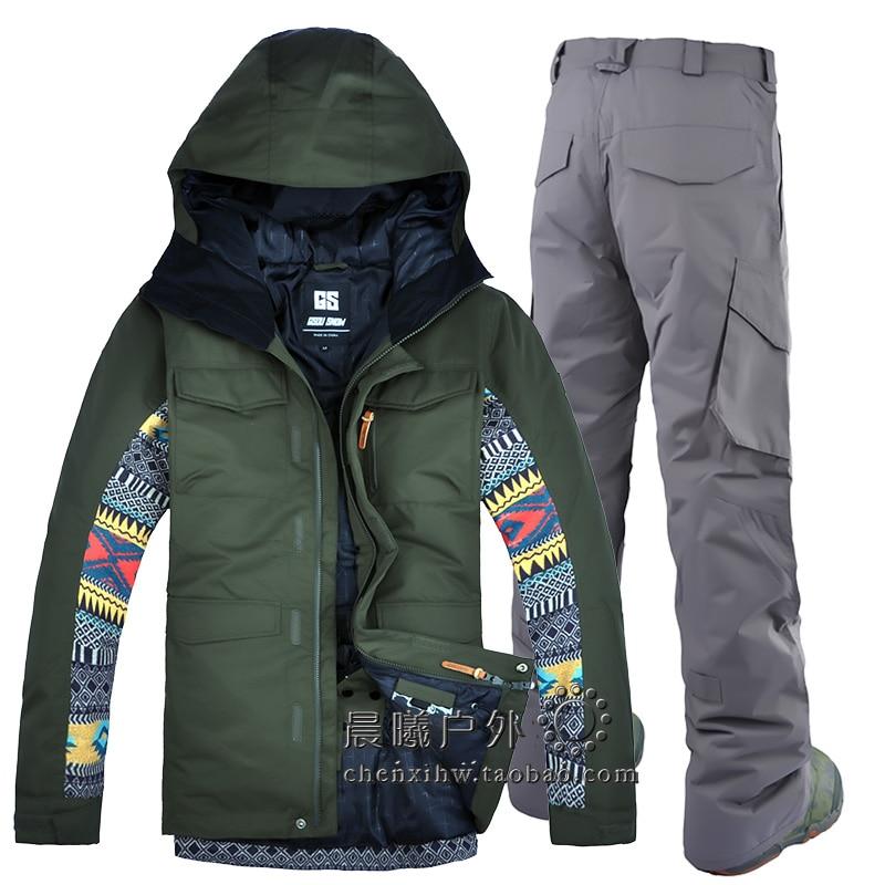 2018 GSOU NEIGE Hommes combinaison de Ski Snowboard Ski Veste Pantalon Coupe-Vent Imperméable À L'eau En Plein Air Sport Porter Épaississent Thermique Mâle Vêtements