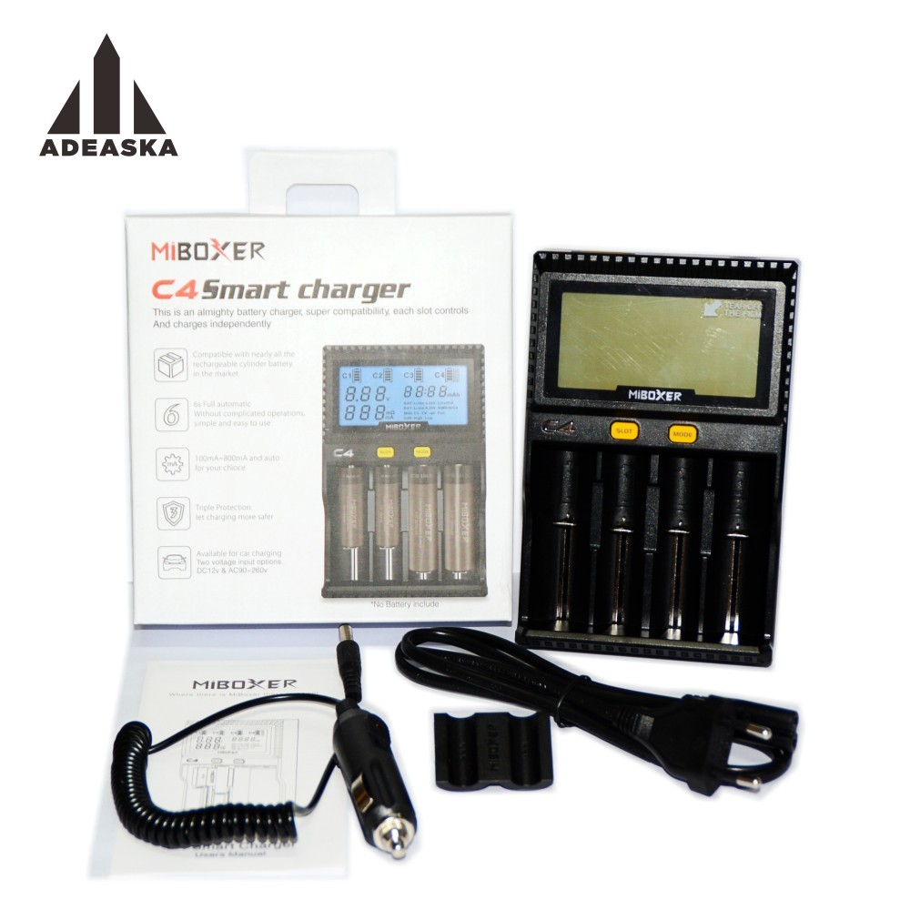Original Miboxer C4 LCD Battery Charger for Li ion IMR INR ICR LiFePO4 18650 14500 26650