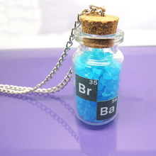 New Classic Breaking Bad Inspired Crystal Sky Blue Vial Cork Bottle Necklace Bath Salt Necklace Gifts