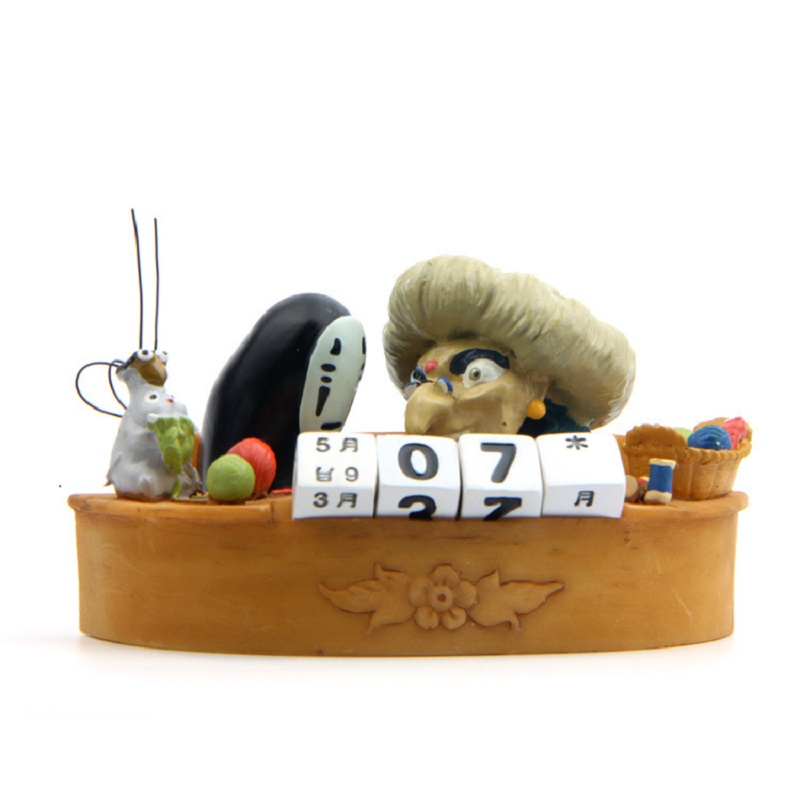 Miyazaki Hayao Sprited Away No face Man Calendar Desktop Decoration Toy PVC Vinyl Action Figure Toys Home Decor Doll Faceless hayao miyazaki princess mononoke 2 kodama potted gardening tree bright spirit micro landscape decoration accessories