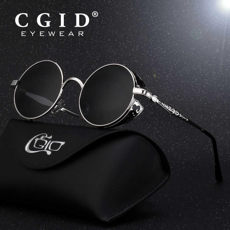 d1725772323 CGID Polarized Steampunk Sunglasses Round Metal Sun Glass Brand Designer Retro  Vintage Glasses UV400 for Men