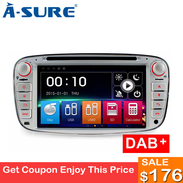 "A-Sure 7"" Car Radio Player GPS for Ford Mondeo Focus Galaxy S-Max C-Max Kuga Front USB Port & Dual TF SD Card S Mirror Link DAB+"