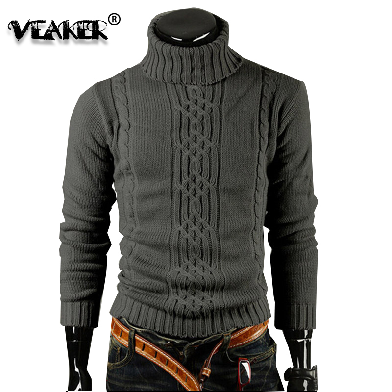 2020 Mens Turtleneck Sweater Pullover Thick Jacquard British Slim Sweaters Dark Grey Man Winter Warm High Collar Pullovers M-XXL