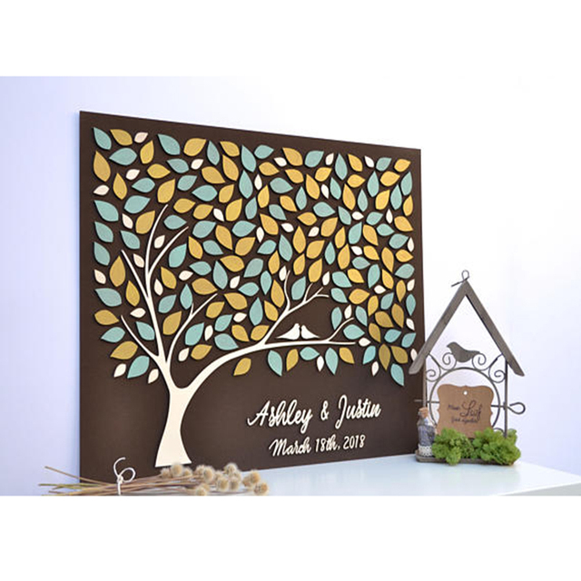 Personalized Rustic Wedding Guest Book Alternative Wood, Heart Guest Books Tree, Custom 3D Wedding Guest Book Ideas Couple Gift
