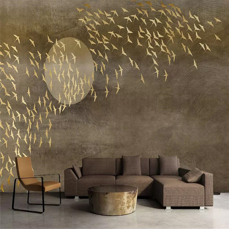Creative Thousand Birds TV Sofa Wall Professional Production Mural Factory Wholesale Wallpaper Mural Poster Photo Wall