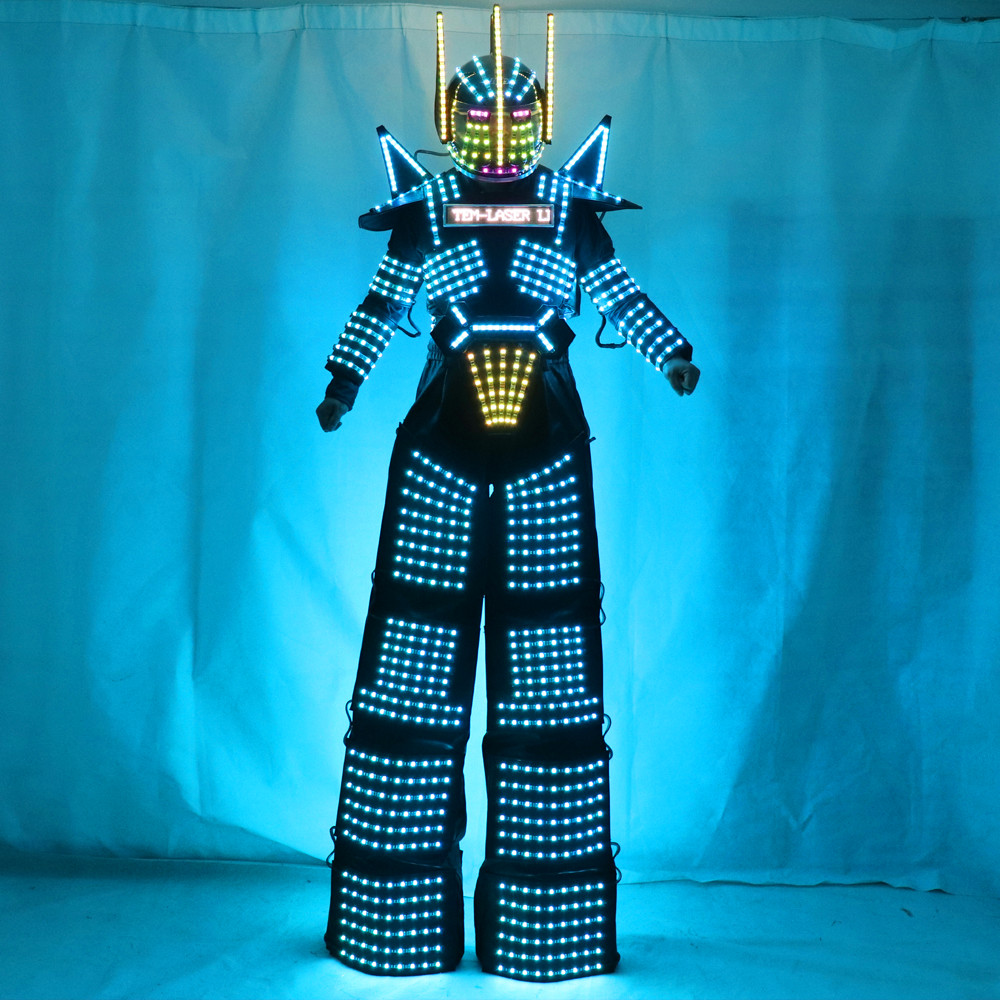 LED Suit Costumes Clothes Stilts Walker LED Lights Luminous Stage Dance Performance Show Dress for Night Club
