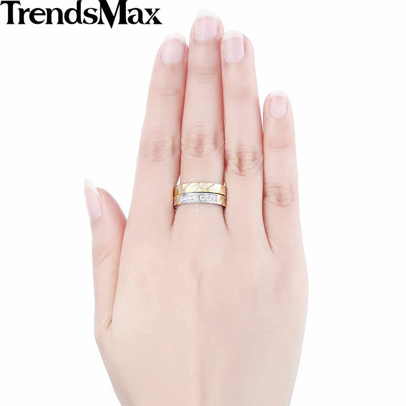 Trendsmax Rhombus ชุดรูปแบบแหวนผู้หญิงสแตนเลสสตีลประดับ Rhinestones โทนสีเงิน 4 มม.KKR117