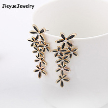 Фотография Fine Jewelry Long Snowflake Flower style Luxury Rhinestone inlay Stud Earrings Accessories for Ladies Drop Shipping