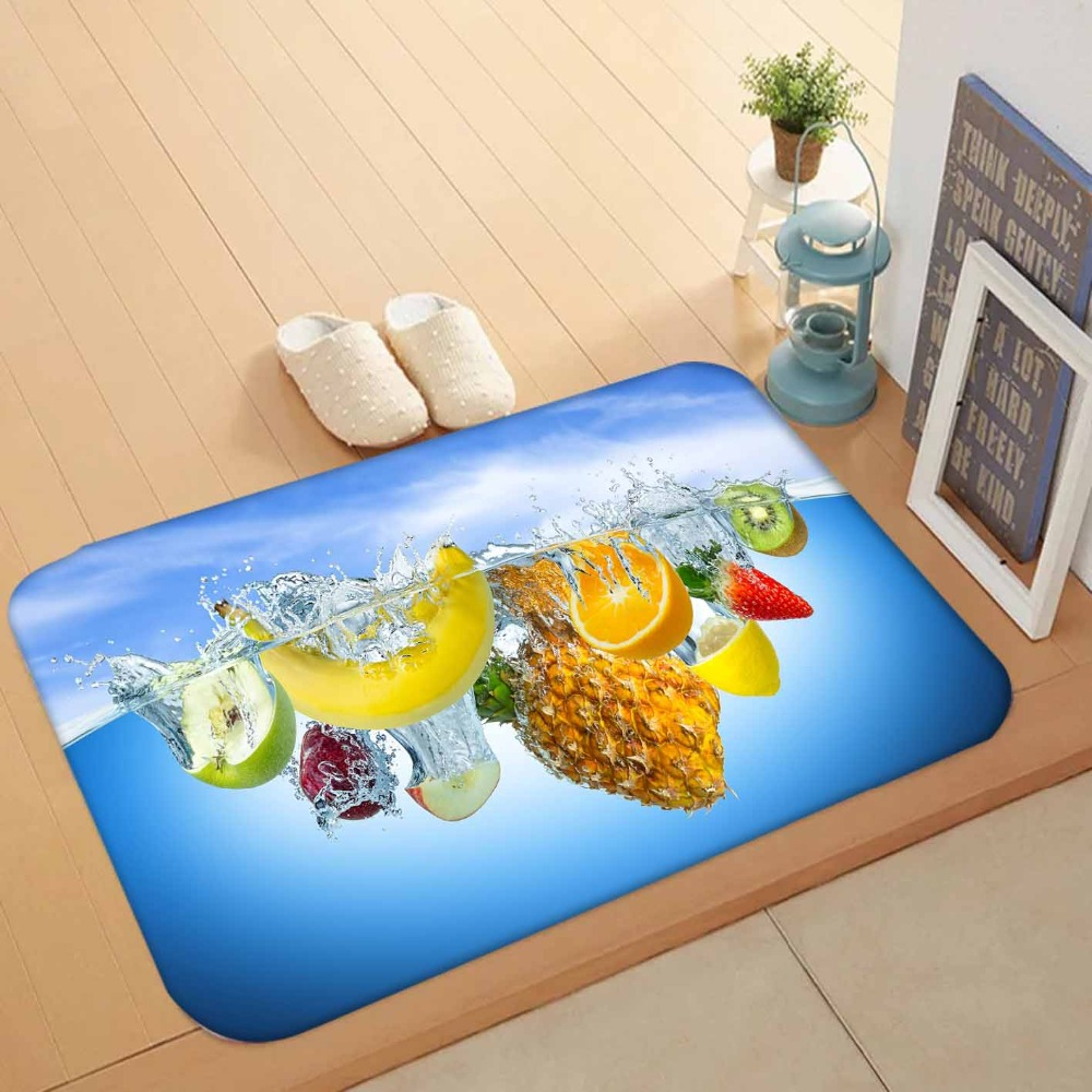 Else Blue Water Pineapple Yellow Banana Green Apple 3d Pattern Print Anti Slip Washable Doormat Home Decor Entryway Kitchen Mat