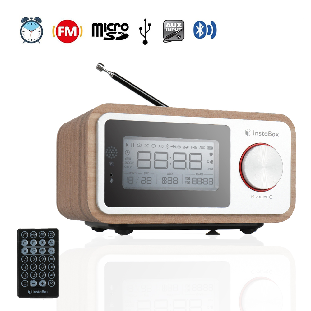 InstaBox i30 Wooden Clock Radio Portable Retro Bluetooth Speaker Digital FM Radio Multi Functional MP3 Player