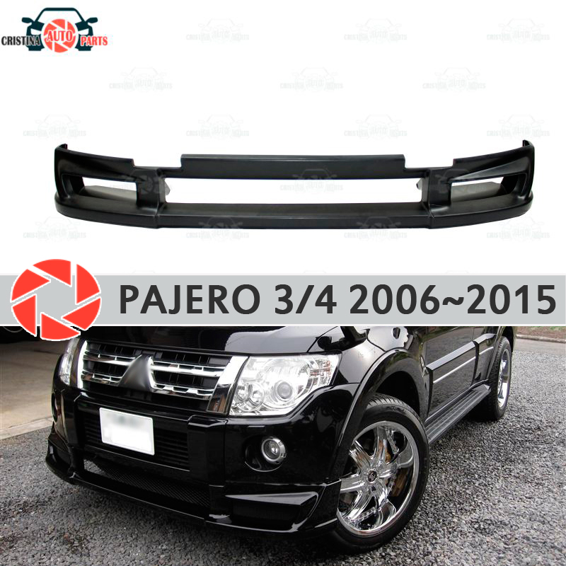 Aerodynamic skirt on front bumper for Mitsubishi Pajero IV 2006-2015 ABS plastic body kit aerodynamic pad decoration car styling knot front zip up back skirt