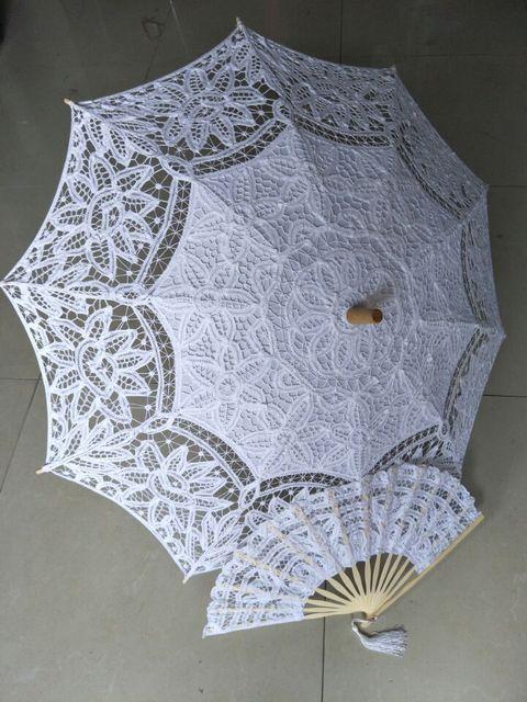 buscar el más nuevo el más baratas tienda de descuento € 23.28 29% de DESCUENTO|8 colores bordado marfil encaje sombrillas boda  Battenburg encaje Parasol y ventilador paraguas de sol conjunto novia  tamaño ...