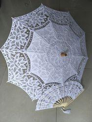 8 colors Embroidery ivory Lace Parasols wedding Battenburg Lace Parasol and Fan Sun Umbrella Set Bride Adult size Vintage cancan