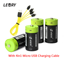 LEORY 4pcs lot Znter 1 5V 6000mAh D Size Lithium USB Rechargeable Battery With USB Charging