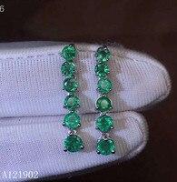 KJJEAXCMY бутик ювелирных изделий 925 серебристо инкрустированные Натуральный Камень изумрудный уха ногтей Подвеска для ушей Поддержка обнаруж
