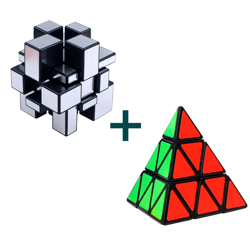 2pcs/set Magic Cube 3x3 Mirror Cube Pyraminx Puzzle Cubes Educational Puzzles toys Christmas Gifts for Children Magico Cubo