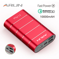 ARUN 10000 mAh Power Bank QuickCharge 3.0 Intelligent Type c External Battery 2 USB Portable Mobile Charger For Xiaomi iPhone X