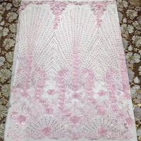 Recently designed French mesh lace fabric, 3D applique with beads and high quality American fabric for wedding/dress HJ1038 1