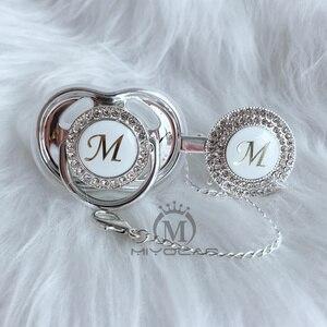 Image 5 - MIYOCAR or argent nom initiales lettre A belle bling sucette et attache sucette sans BPA factice bling conception unique LAS 8/9