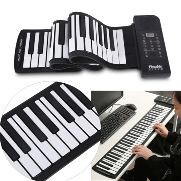 Zebra Portable Flexible Soft Keys 61 Keyboard MIDI Roll Up Electronic Piano For Music Keyboard Instruments Lover Gift portable mini roll up soft silicone flexible electronic digital music keyboard piano with loud speaker for different children