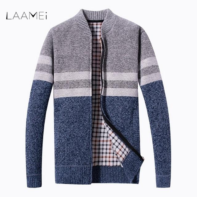 LAAMEI 2018 גברים של סוודרים סתיו חורף חם קשמיר צמר רוכסן סוודר סוודר איש מקרית סריגי בתוספת גודל קרדיגן מעיל