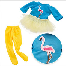 Fit 18 inch 43cm Doll Clothes Born New Baby 2 pieces Red Yellow Blue Flamingo yarn suit accessories For Gift